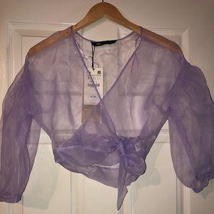 Lavender Organza Crop Top
